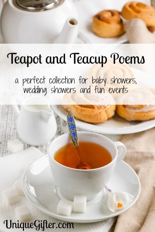 Teapot and Teacup poems - a perfect collection for baby showers, wedding showers and fun events.