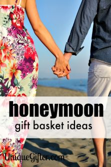 A honeymoon gift basket is a perfect wedding gift idea! I love it.