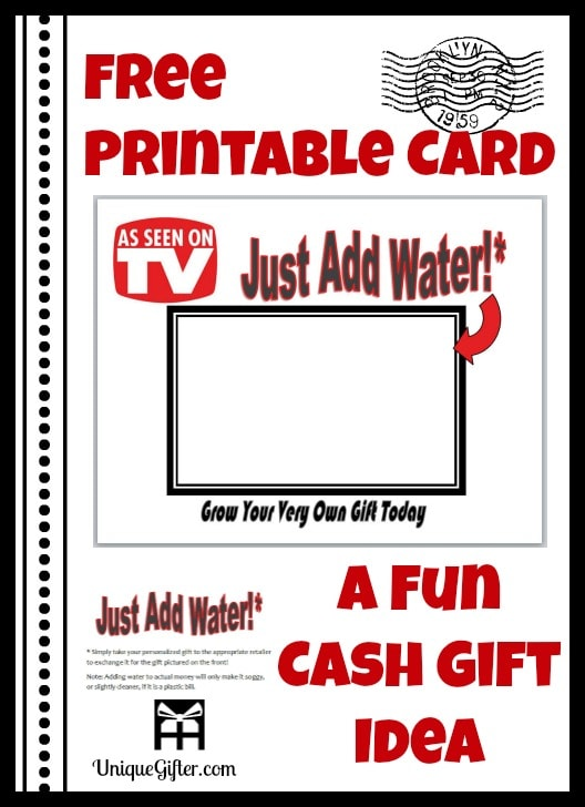 Free Printable Card Just Add Water Gift Idea