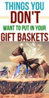 Do you know what to avoid putting in gift baskets? Things that people don't actually want or need? This list has changed the way I think about making gift baskets for gift giving and for fundraisers. Pin it to keep it in mind! #gifts #giftbasket