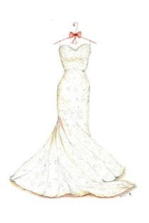 Wedding dress sketch as a thoughtful first year wedding anniverary gift