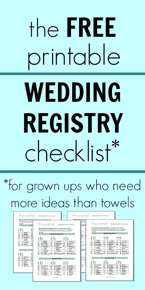 Free Printable Wedding Registry Checklist  Unique Gifter