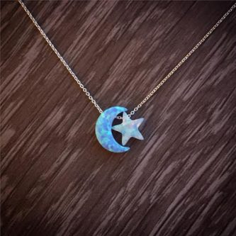 Star and moon necklace as a S themed gift