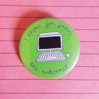 Funny gift idea for internet friends button present