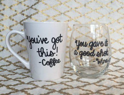Coffee mug and wine glass combo gift ideas for a Gemini woman