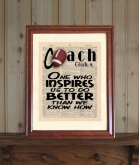 This is a cute Thank You Gifts for Football Coaches he can hang in his office.