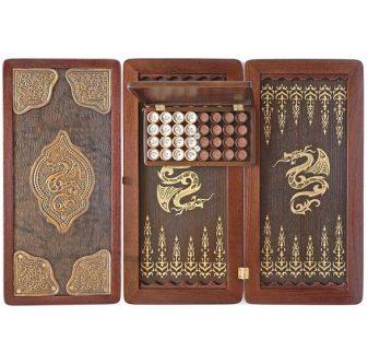 Wooden backgammon set