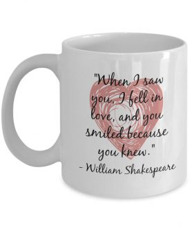 Gift ideas for Shakespeare lovers include ones that serve you coffee.