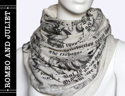 Gift ideas for Shakespeare lovers include this cute scarf.