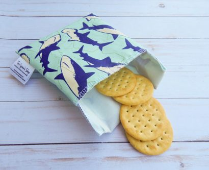 This reusable snack bag is gift ideas for shark lovers goals.