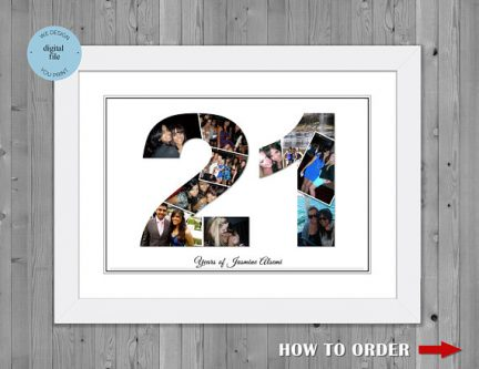 21st Birthday Number Photo Collage