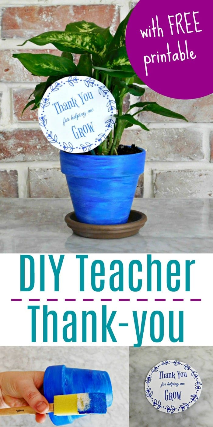 Diy Painted Planter Teacher Appreciation Gift With Printable Card