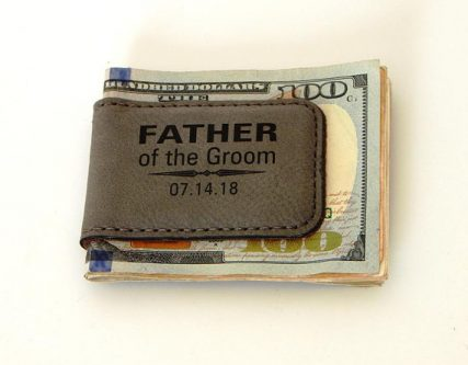 Father of the Groom Gifts include this cute wallet clip.