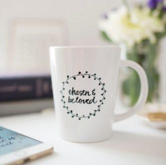 """Chosen & loved"" Handwritten Mug"