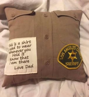 Sympathy gift ideas for loss of father include memory pillows.