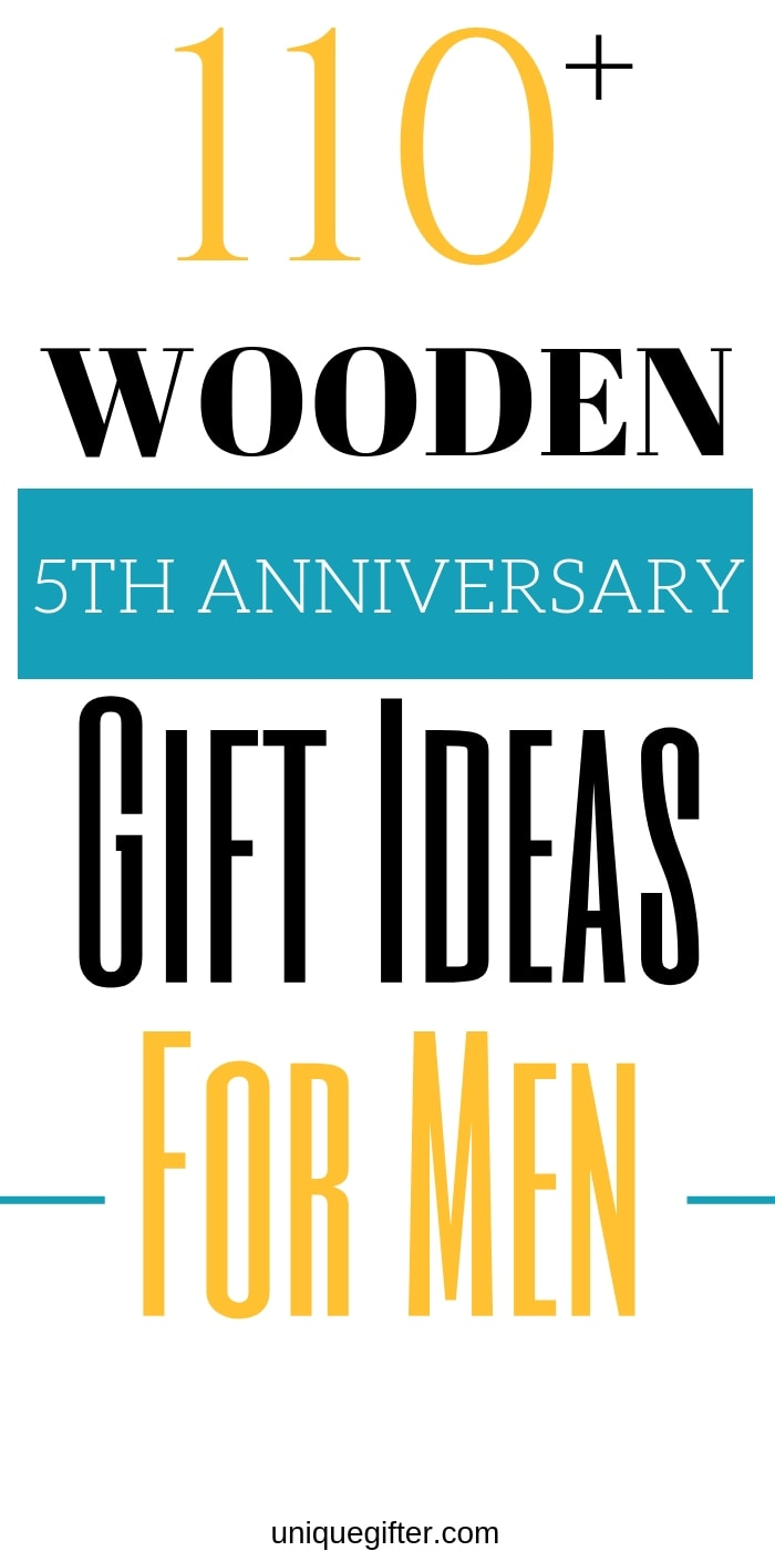 We're already ready to celebrate our fifth anniversary, wow. This list of wood 5th anniversary gifts for men was ridiculously helpful, you need to read it! Coming up with gift ideas for my husband can be tricky, this website has helped me so many times now. With over 100 ideas, I knew I would find the perfect gift for him that still worked for my budget and I did. #anniversary #anniversarygifts #presents #uniquegifter #gifts #giftguide