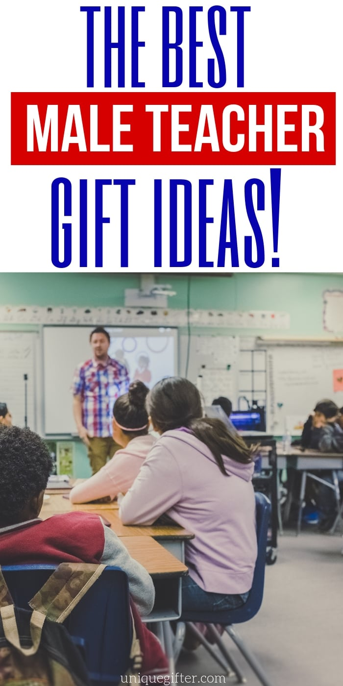 Men can be hard to shop for! Here are 50 male teacher gifts to inspire, there are definitely ideas in here to pin for later, I won't be stumped again. | Teacher Gifts for Men | Teacher who is a man | Christmas presents for teachers | End of School Gifts | Back to School Gifts | Birthday Gift Idea