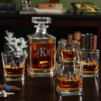 Set of personalized whiskey decanter mechanic gift