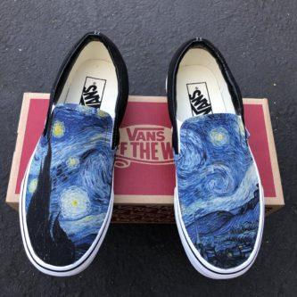 Custom pair of vans Van Gogh starry night