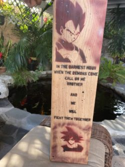 Airbrushed wooden Dragonball Z character decor sign