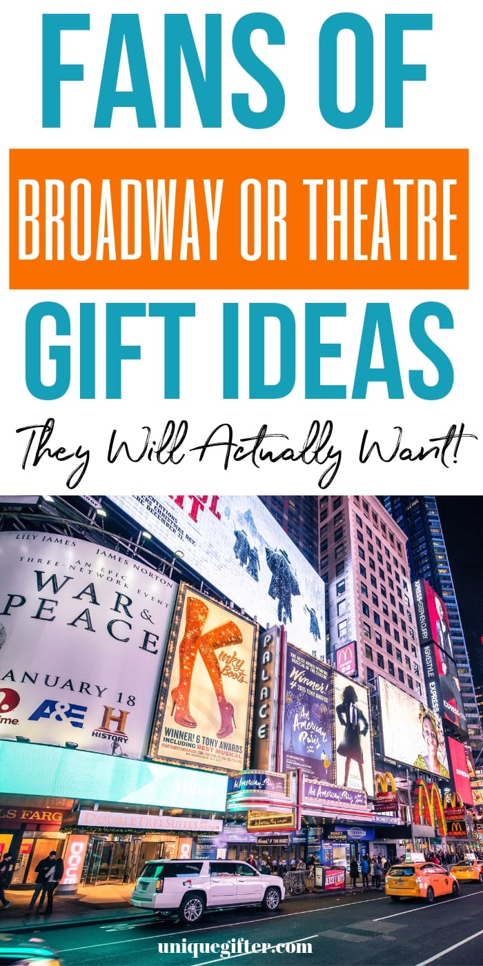 Gift Ideas for Broadway Lovers | What to buy a Musical Theatre Fan | Christmas Presents for Hamilton Fans | Birthday Gift Ideas for Actors #broadway #gifts #giftguide #uniquegifter #unique #presents