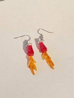 Lego rocket flame accessory earrings