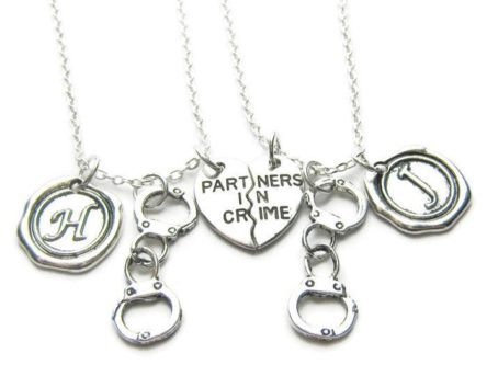 Gft ideas for internet friends include this partner in crime necklace.