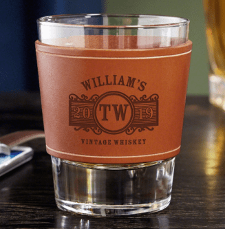 Engraved whiskey glass for him 3rd leather anniversary gift