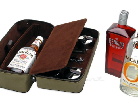 Leather personal travel bar set 3rd leather anniversary for him