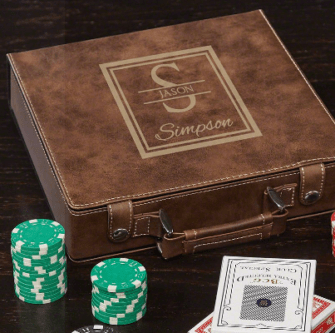 Leather bound poker set personalized 3rd leather anniversary gift for him