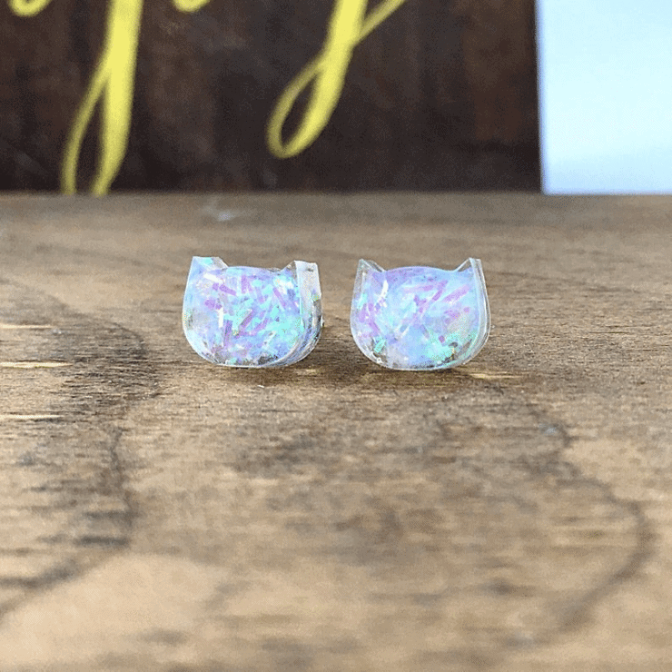 iridescent gem cat shaped kawaii earrings