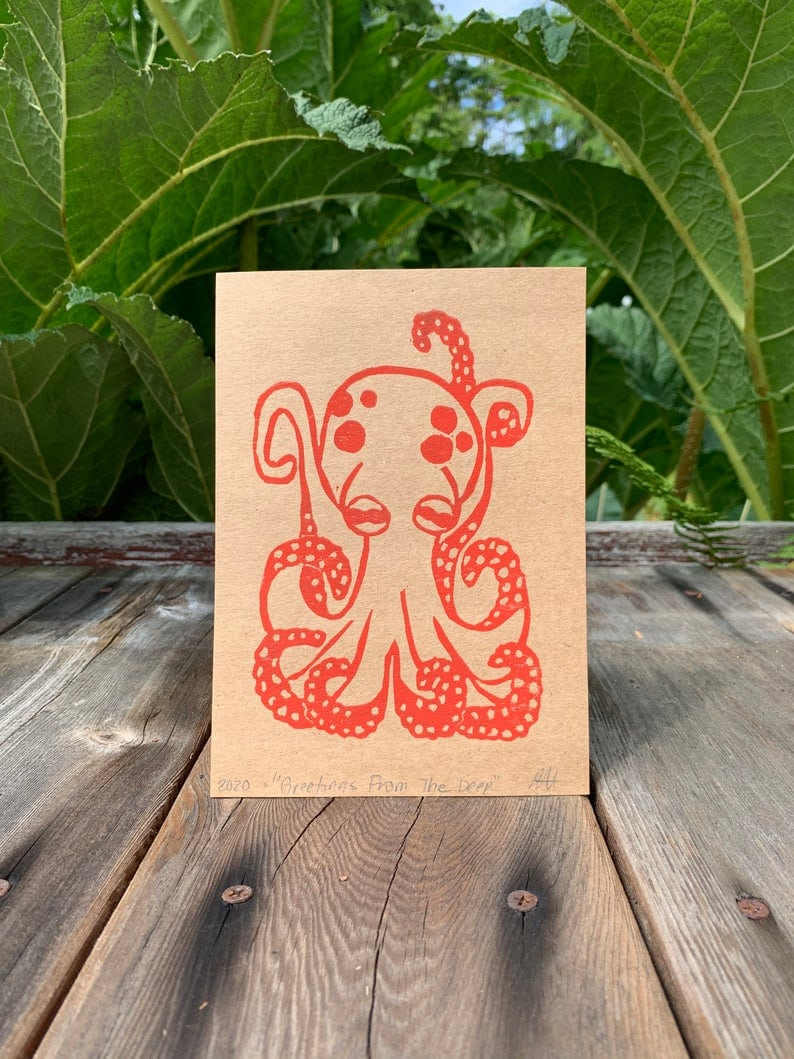 Cute octopus print gift idea for octopus lovers