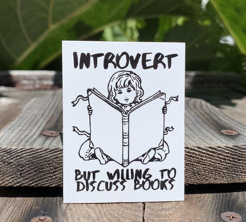 introvert but willing to discuss books funny librarian gift idea sticker