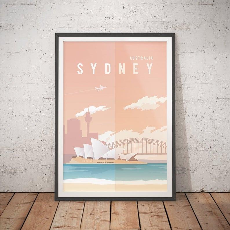 Sydney Australia vector simplistic travel poster gift idea