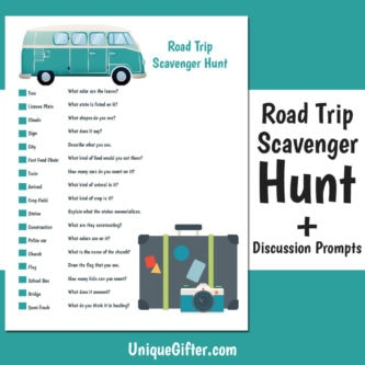image relating to Road Trip Scavenger Hunt Printable named Totally free Printable Street Getaway Scavenger Hunt Distinctive Gifter