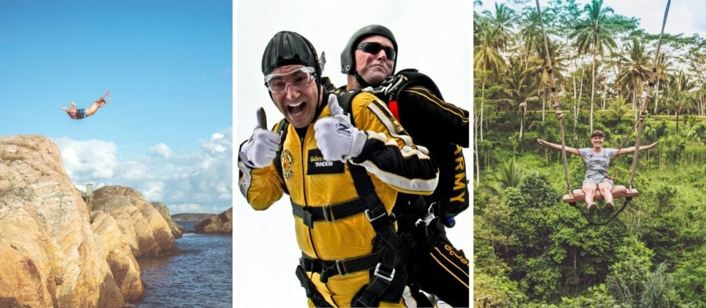 Adrenaline Junkie Gift Ideas Near Me - 3 panel image of cliff jumping, tandem skydiving and ziplining