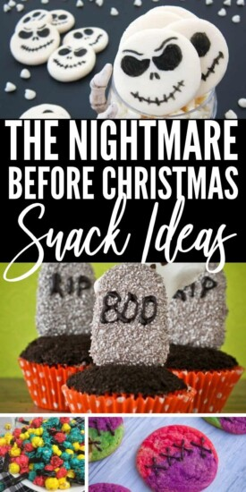 You must see these 12 Snacks Inspired by The Nightmare Before Christmas if you are hosting a party. These treats are adorable and fun to make. #nightmarebeforechristmas #snacks #halloween #christmas #partyfood #uniquegifter #easy