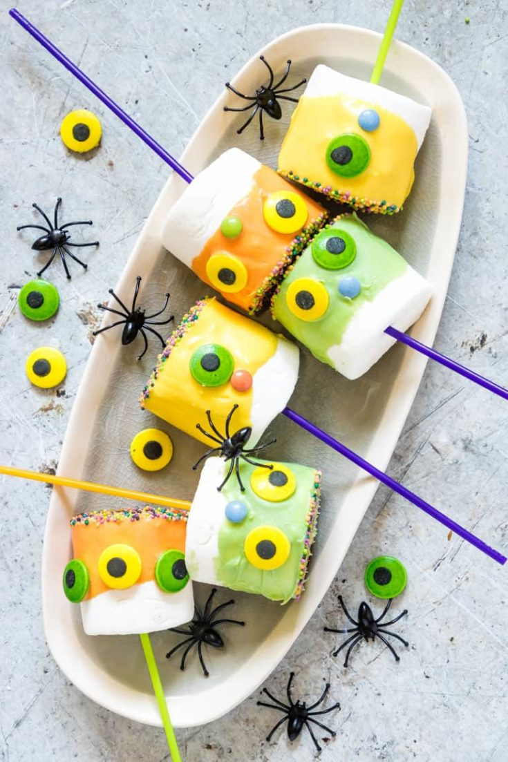 Monster Halloween Marshmallow Pops {Gluten-Free}