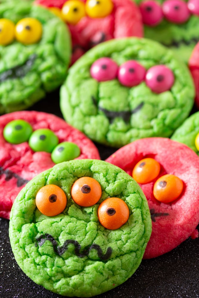 Six-Ingredient Cake Mix Halloween Monster Cookies