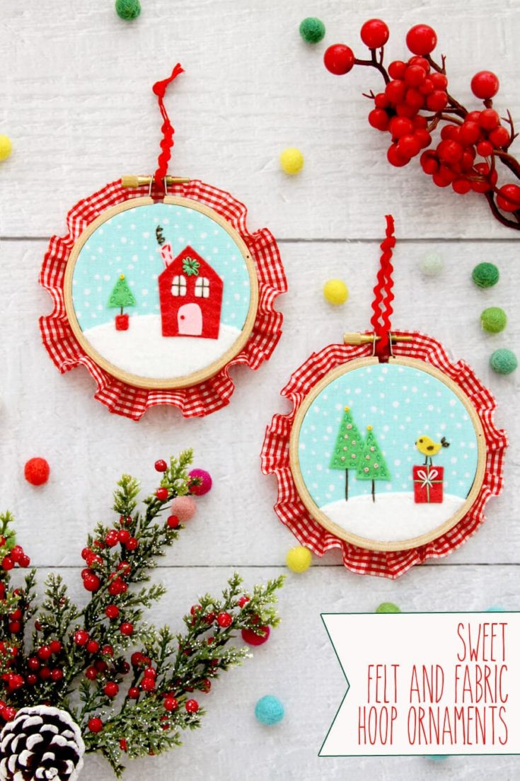Felt and Fabric Hoop Ornaments