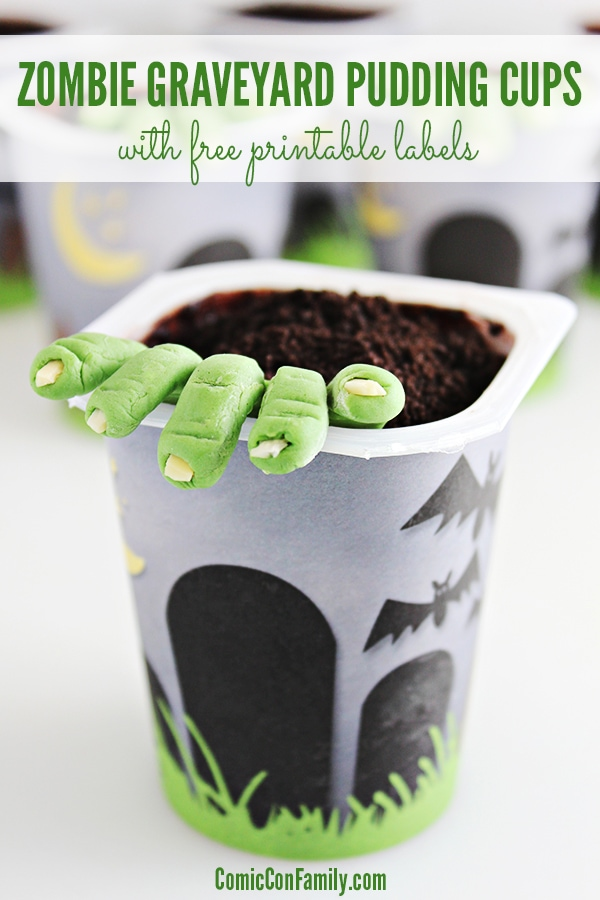 Zombie Party Idea: Zombie Graveyard Pudding Cups (with free printable labels)