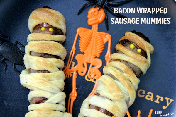 Fast and Easy Halloween Recipe Bacon Wrapped Sausage Mummies