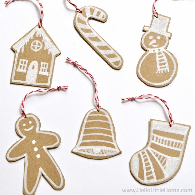 DIY Cardboard Gingerbread Ornaments