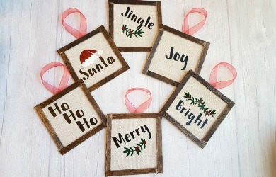 Mini Reverse Canvas Ornaments With A Touch Of Farmhouse Style