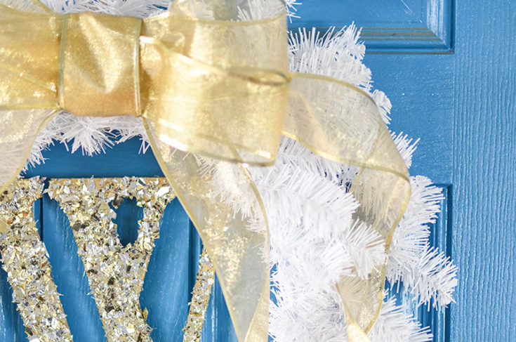 DIY Glittery Monogram White and Gold Wreath