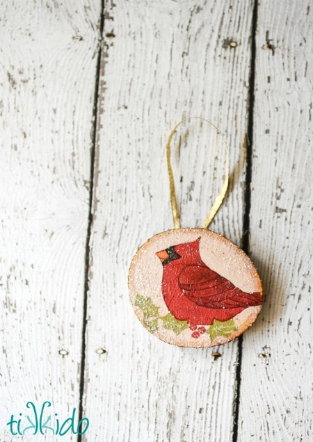 Rustic Wood Decoupage Ornament Tutorial