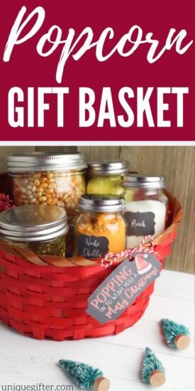 DIY Popcorn Gift Basket   Gift Baskets   DIY Gift Baskets   Creative Gift Basket Idea   Popcorn Gift   Inexpensive Gifts   #gifts #giftguide #presents #popcorn #giftbasket #basket #inexpensive #uniquegifter