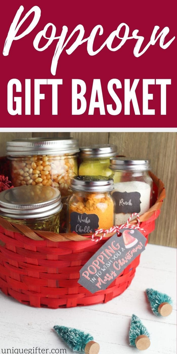 DIY Popcorn Gift Basket | Gift Baskets | DIY Gift Baskets | Creative Gift Basket Idea | Popcorn Gift | Inexpensive Gifts | #gifts #giftguide #presents #popcorn #giftbasket #basket #inexpensive #uniquegifter
