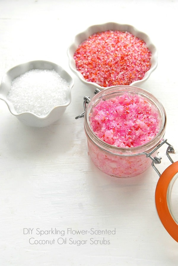 Coconut Oil Sugar Scrubs: Sparkling Flower-Scented DIY Gift Idea