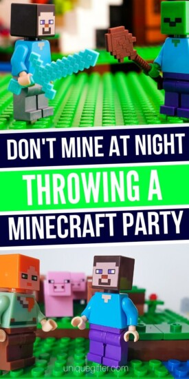 Don't Mine At Night: Throwing A Minecraft Party   Minecraft   Minecraft Party Ideas   Creative Minecraft Party   #gifts #giftguide #party #partyguide #partyplanning #minecraft #unqiuegifter